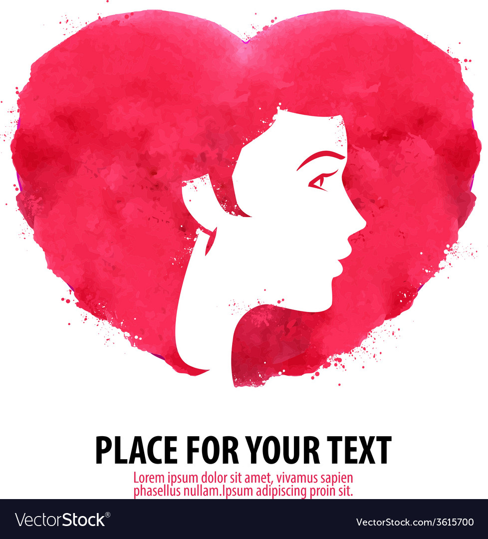 The womans face and the heart Girl silhouette