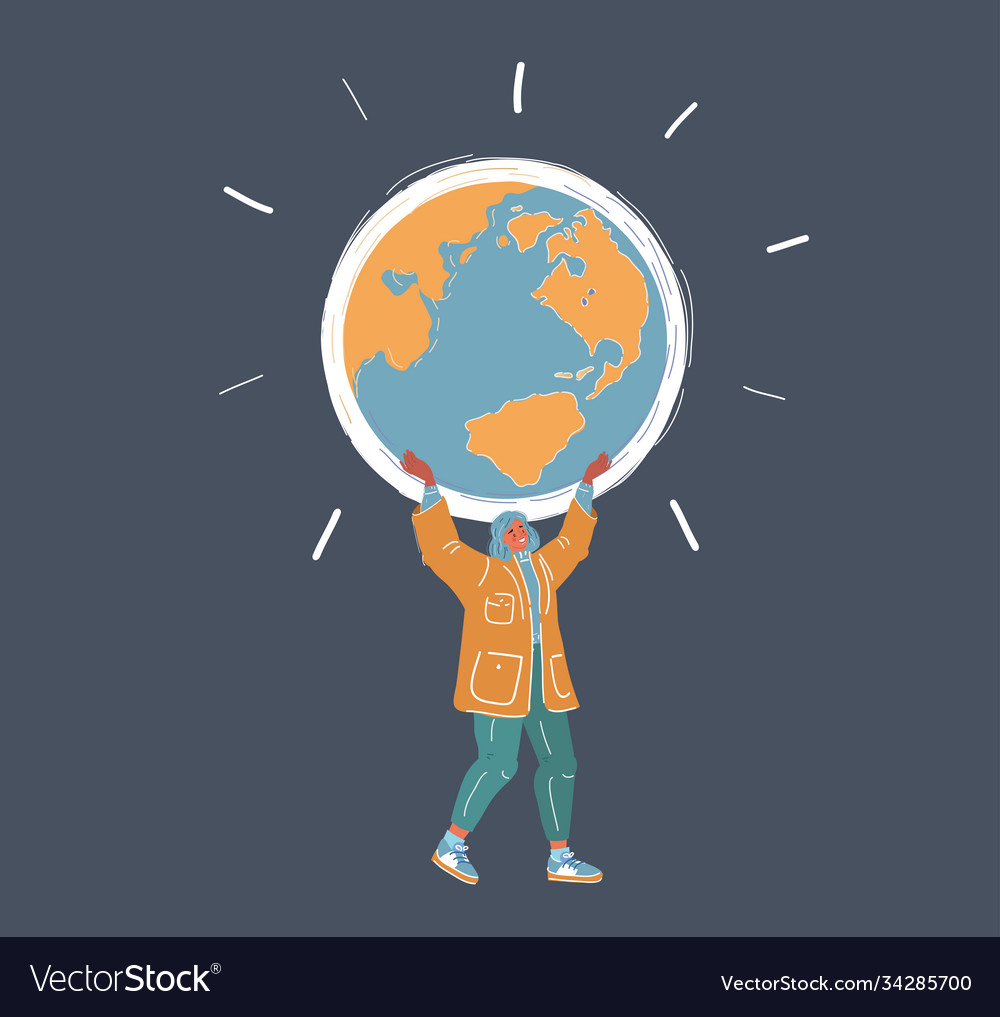 Woman holding globe in hand vector