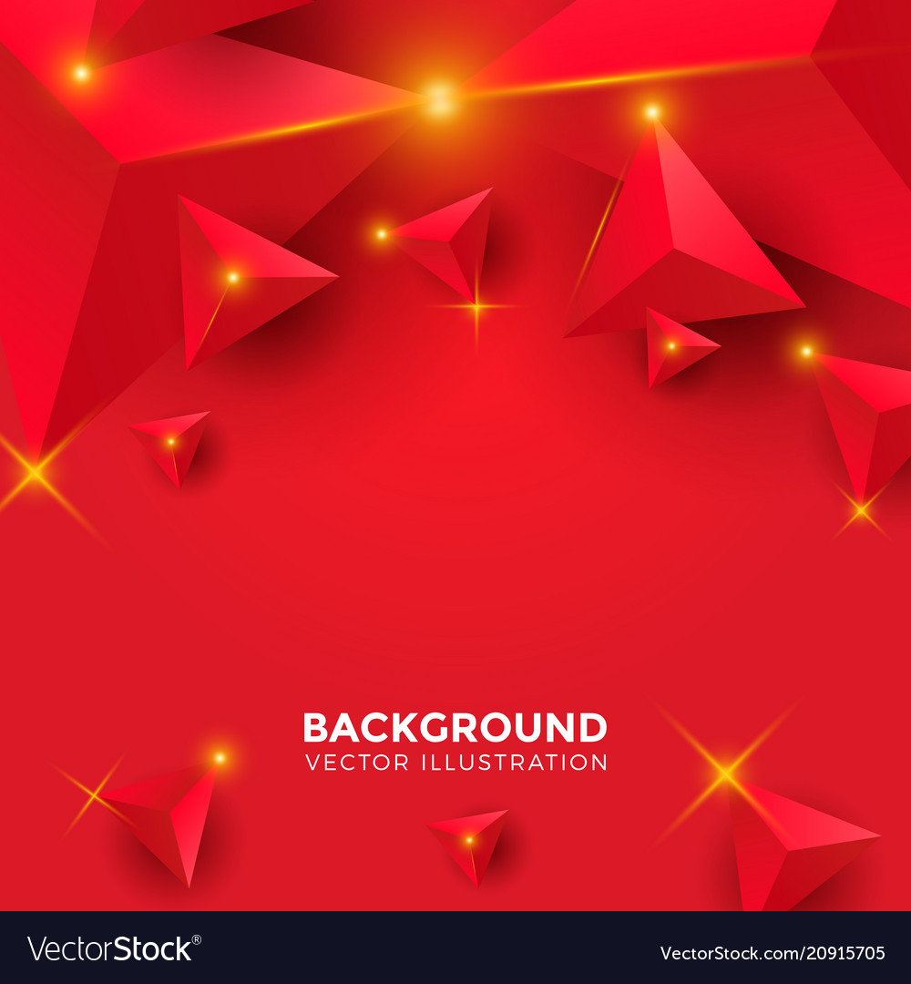Abstract shiny red triangle background 3d