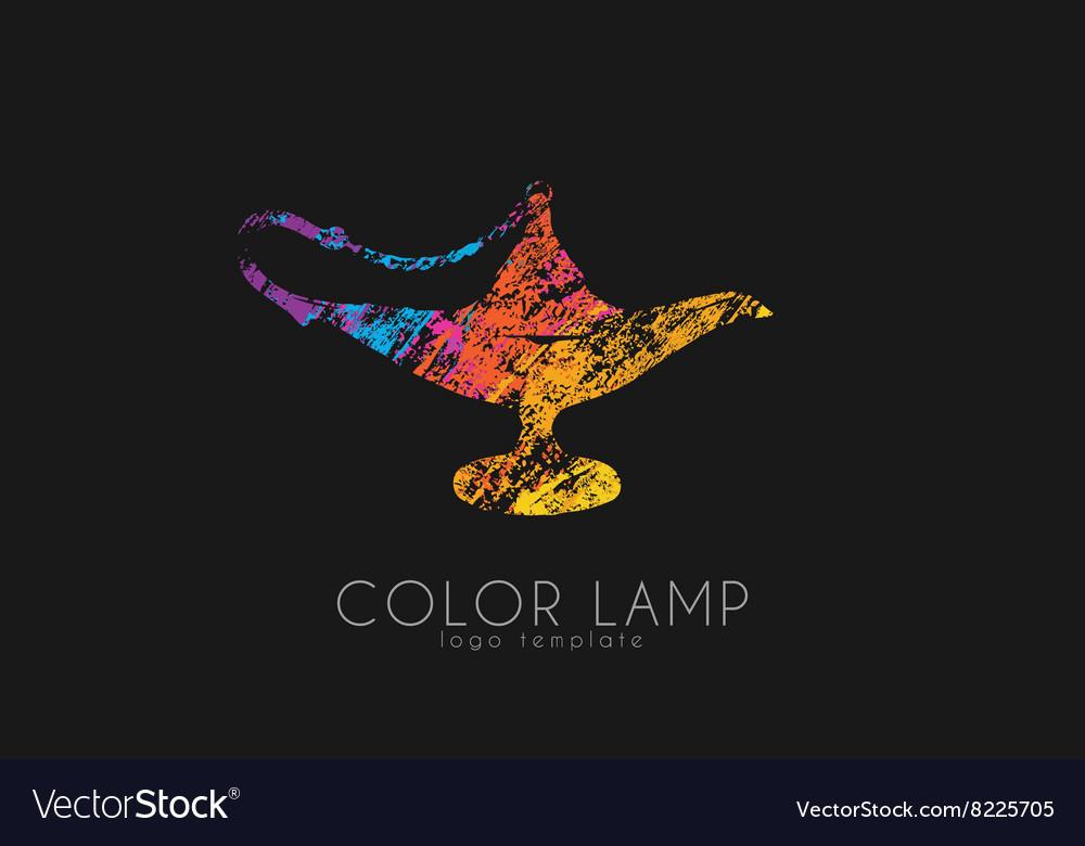 Color lamp logo Magic lamp Magic logo design vector image