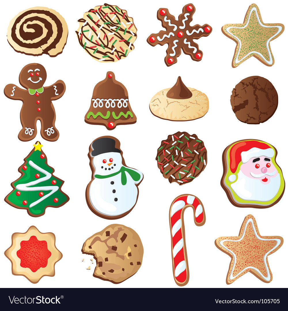 cute christmas cookies vector image