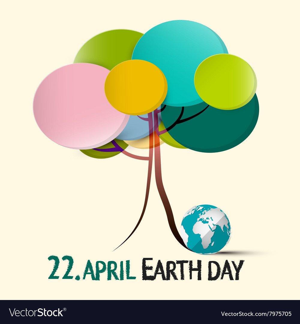 Earth Day - 22 April with Colorful Retro Paper