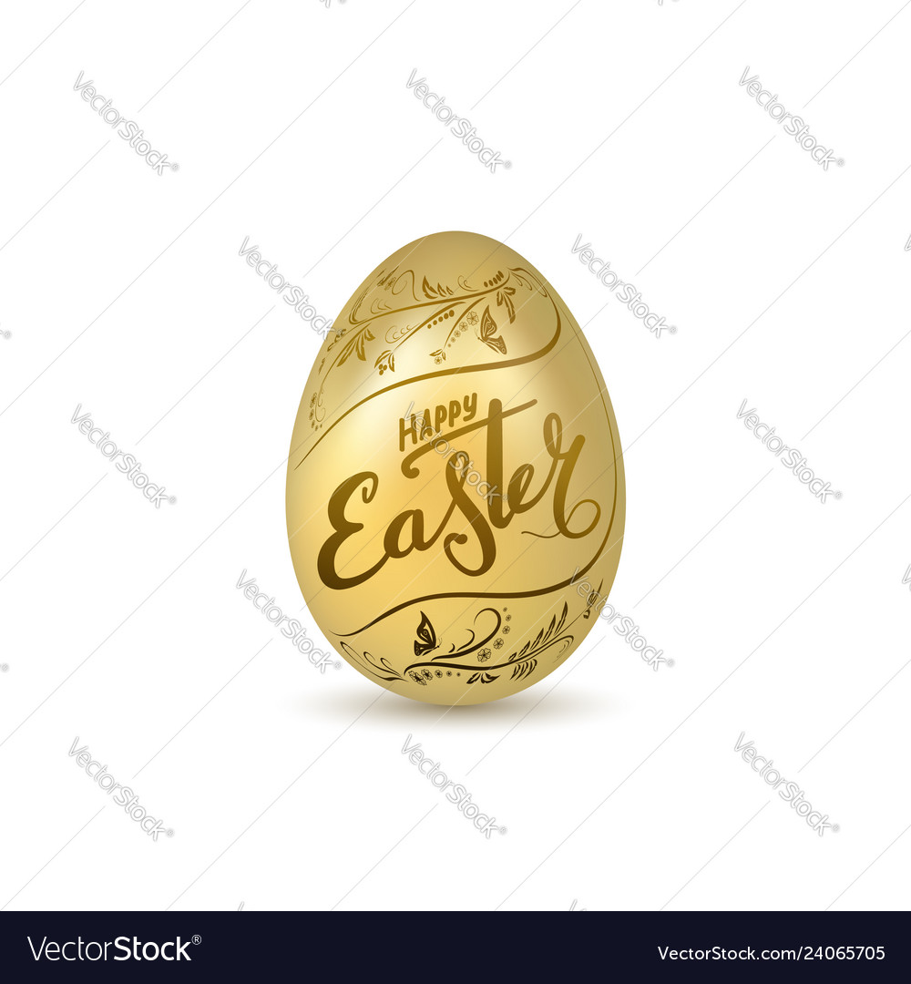 Easter egg 3d icon gold egg lettering isolated