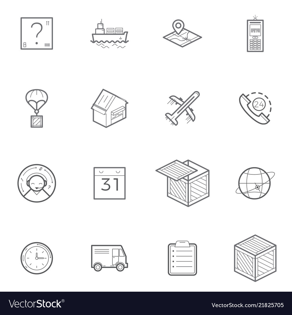Logistics shipping and delivery icon set