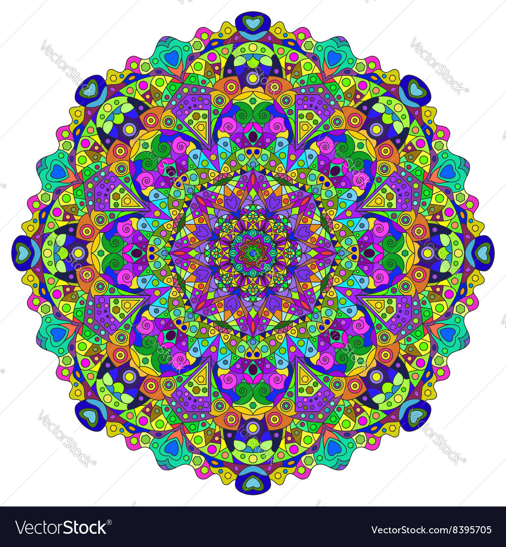 Pattern with colored mandala vector image