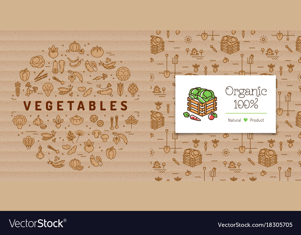 Vegetables circle banner and organic farming card
