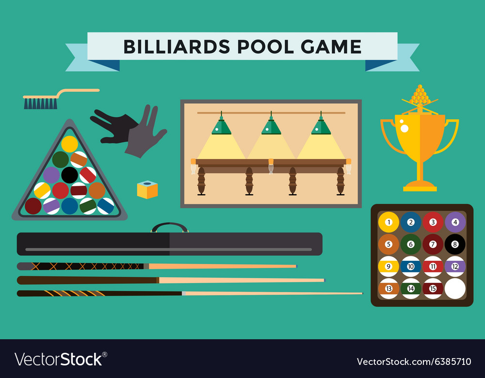 Billiards flat pool game accessories vector image