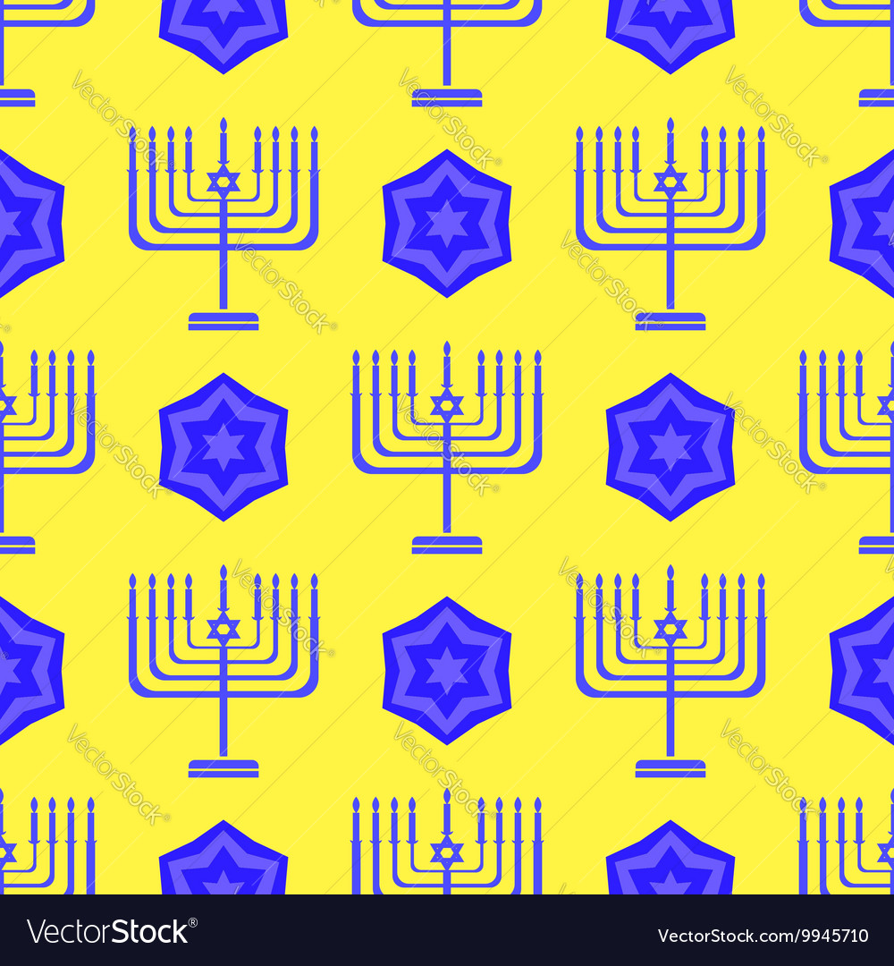 Blue David Star Menorah Seamless Background
