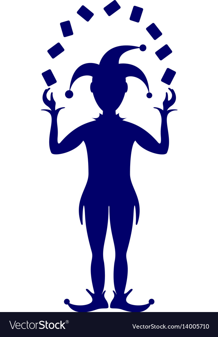 Blue silhouette of joker playing with cards vector image