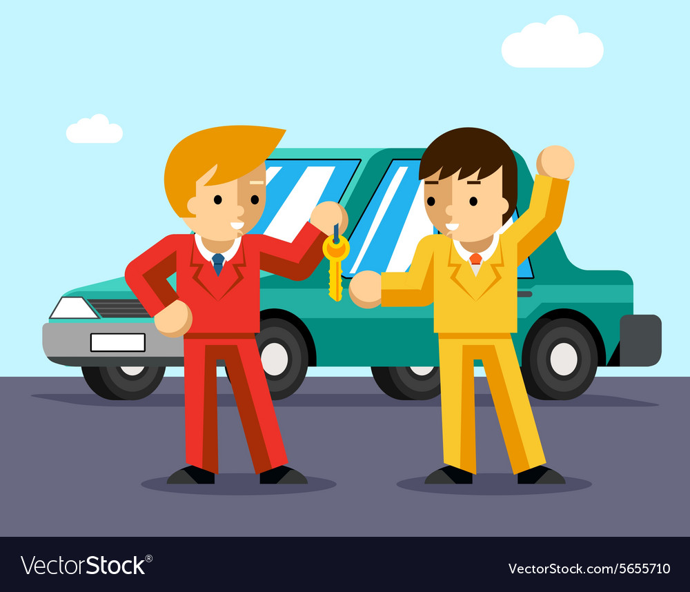 Buying car Man gets keys to the car