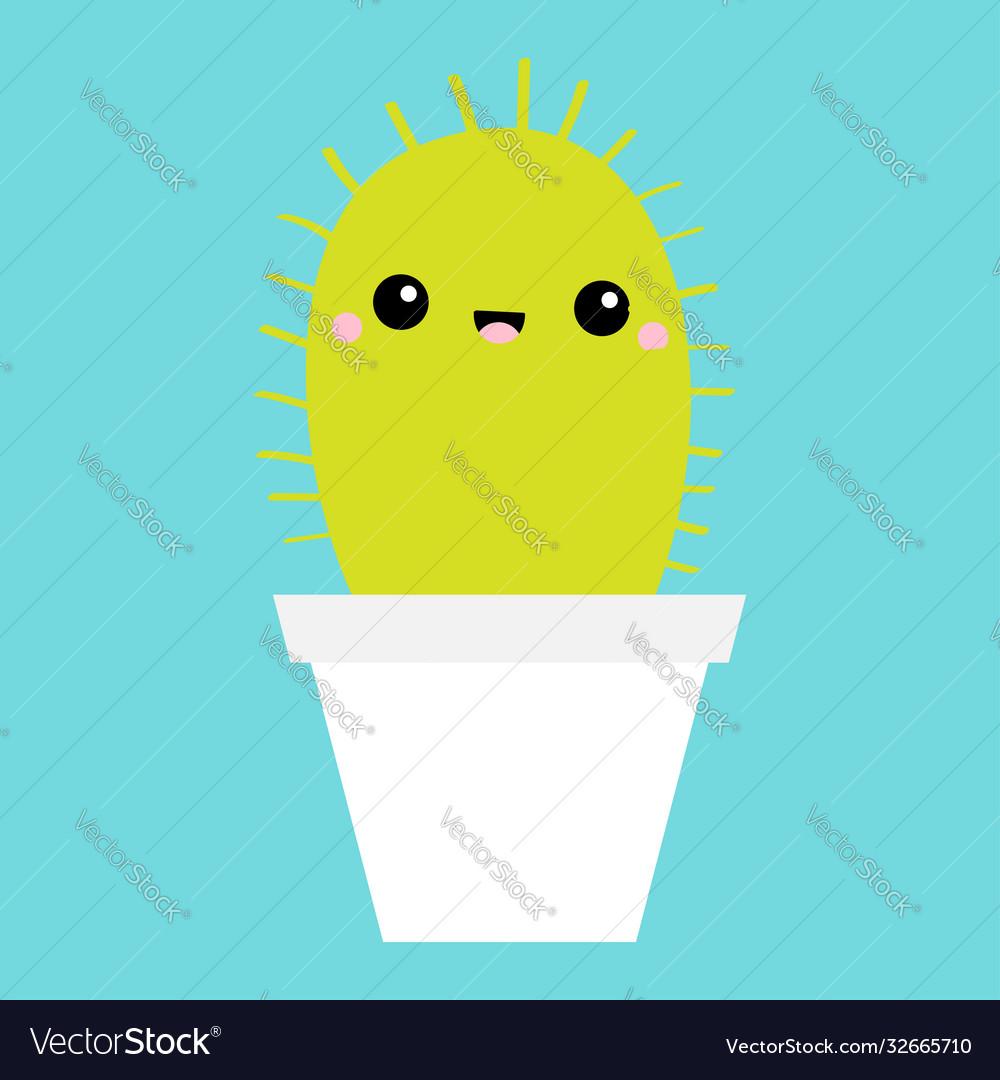 Cactus icon in flower pot cute cartoon kawaii