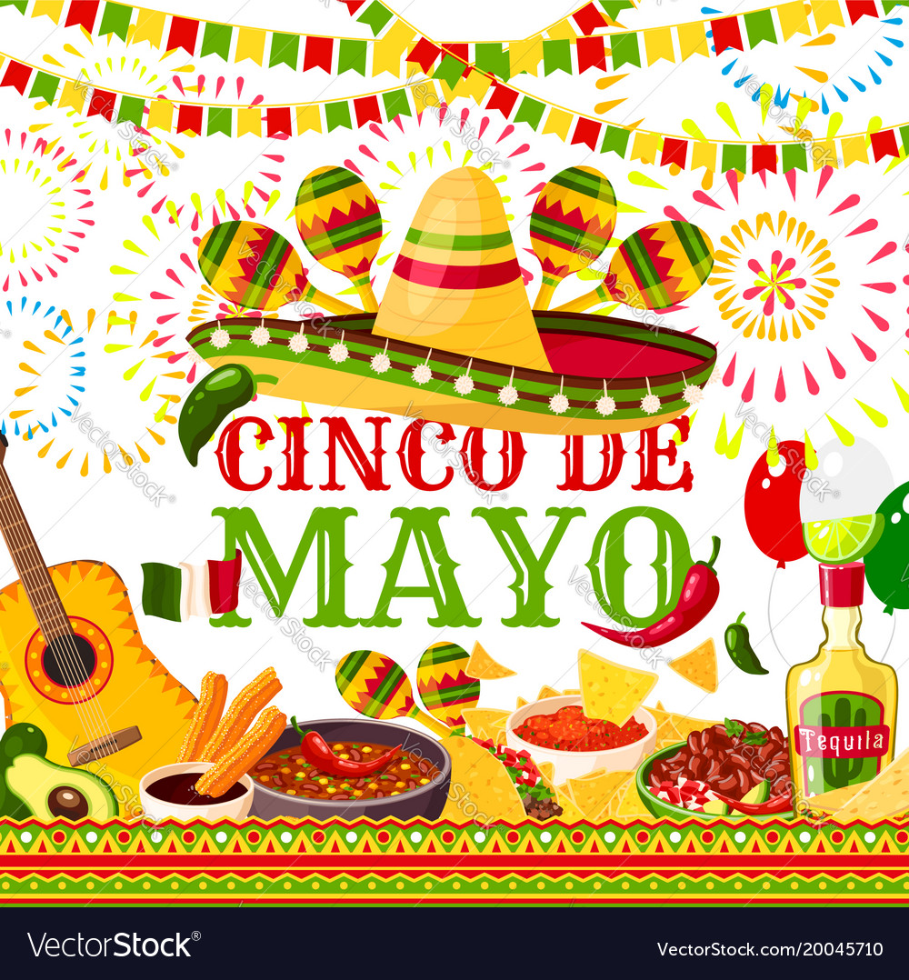 Cinco de mayo fiesta mexican greeting card vector image