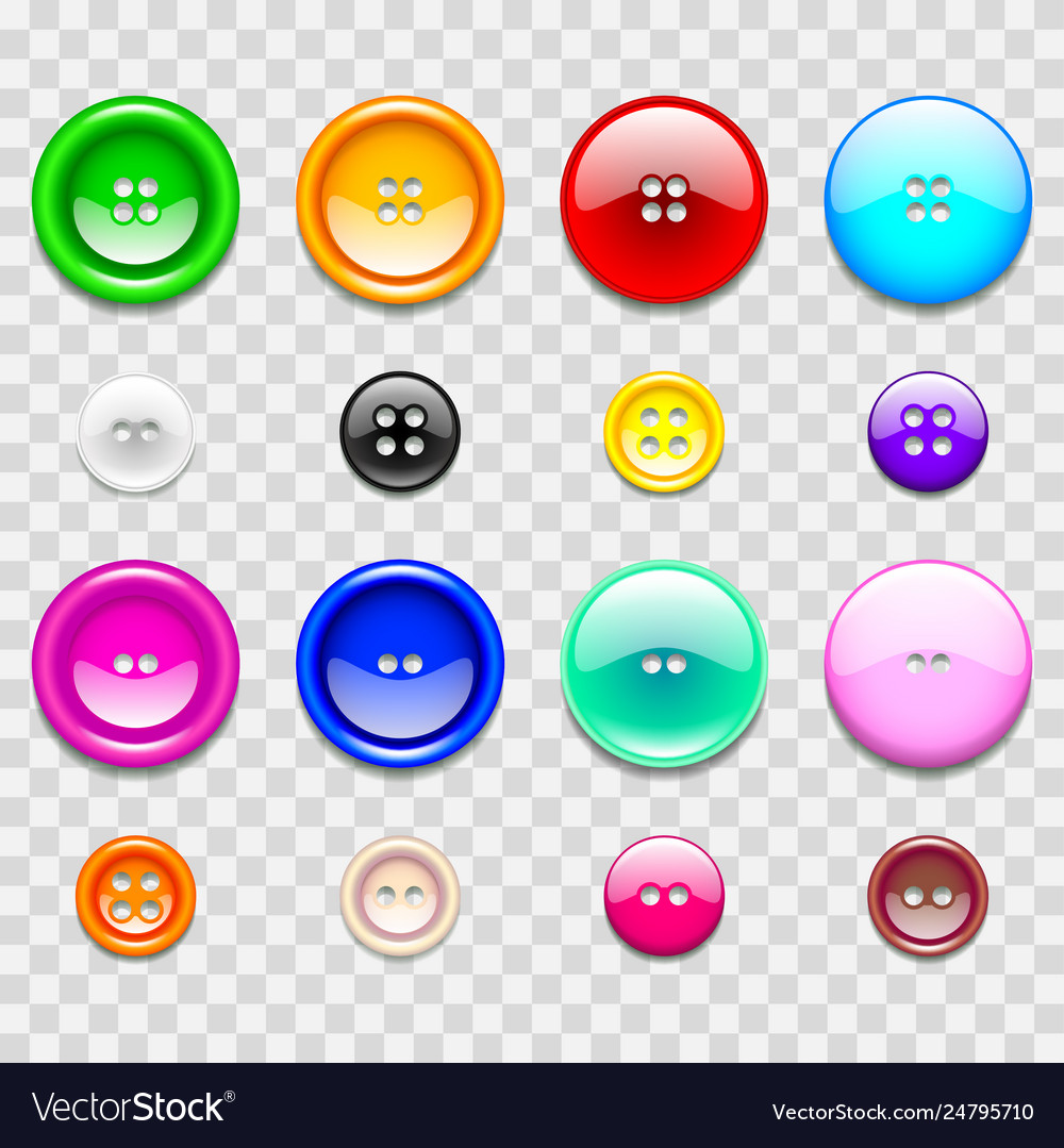 Colorful sewing buttons icons photo realistic set