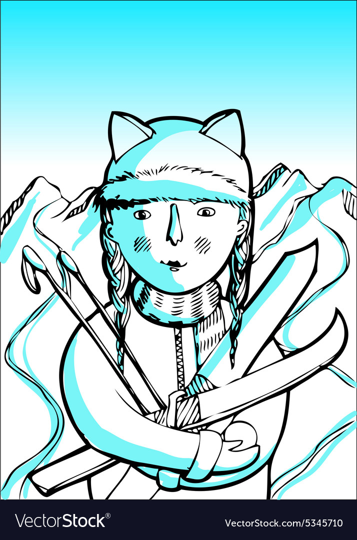 Girl with skis in the mountains vector image