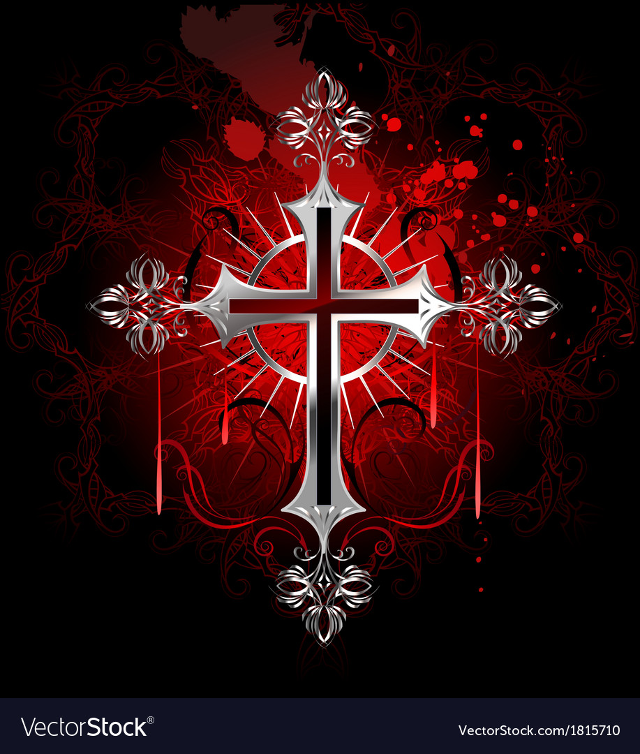 Gothic silver cross vector image