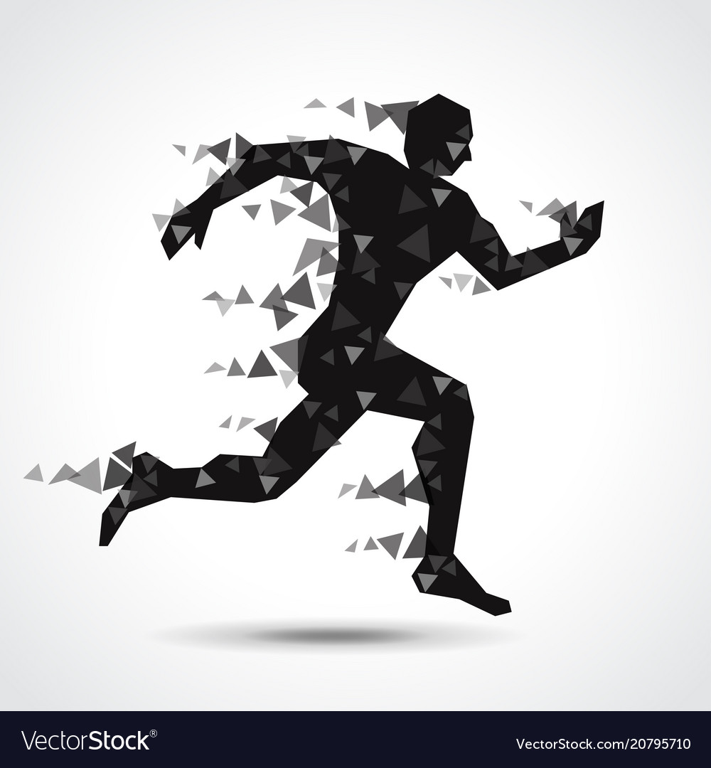 Low poly running man isolated on white