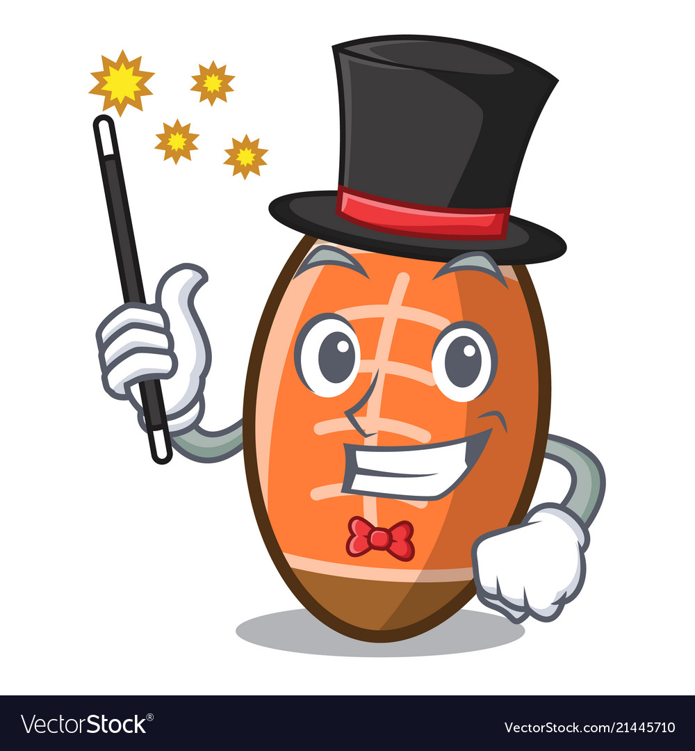 Magician rugby ball mascot cartoon