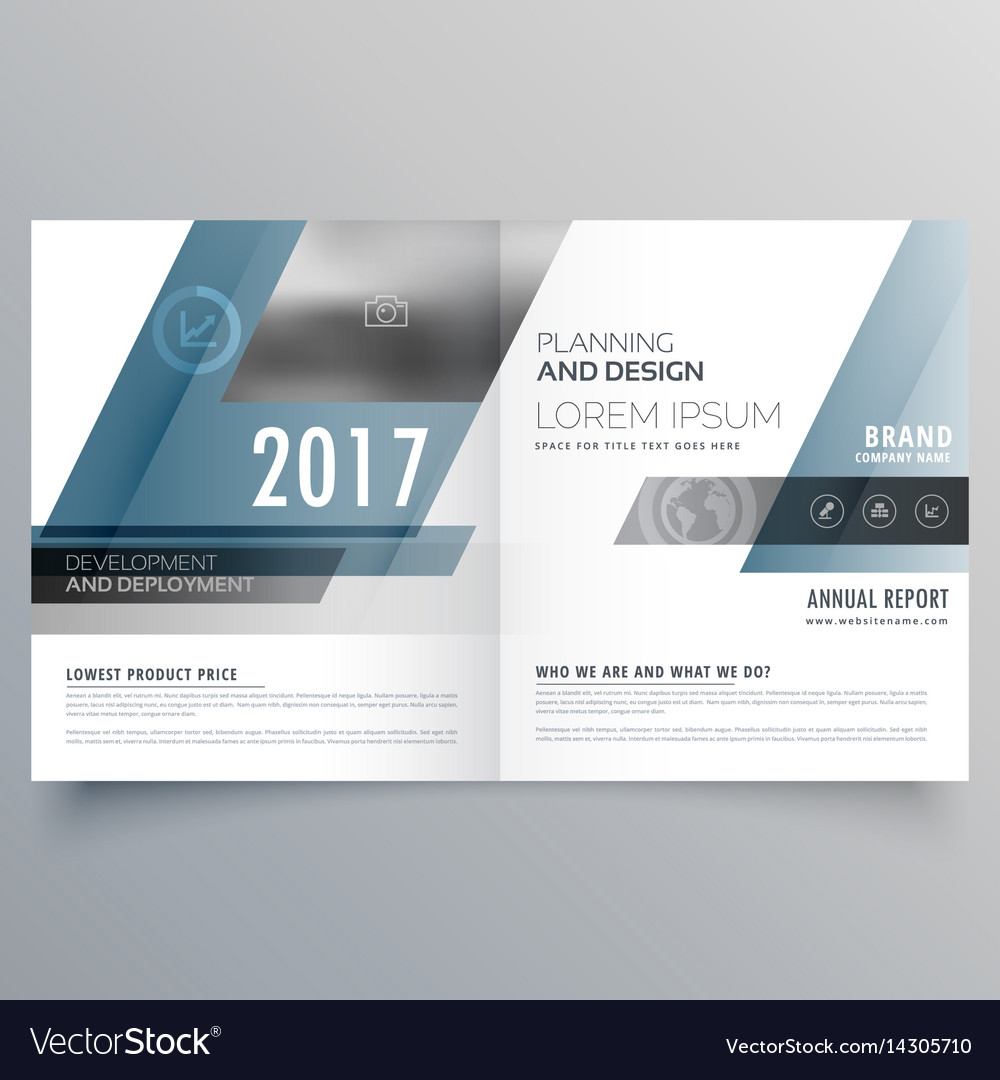 Modern Business Bifold Brochure Template With Vector Image - Bifold brochure template