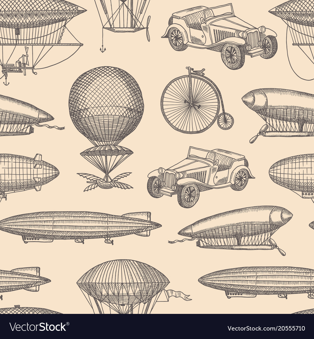 Pattern with steampunk hand drawn airships