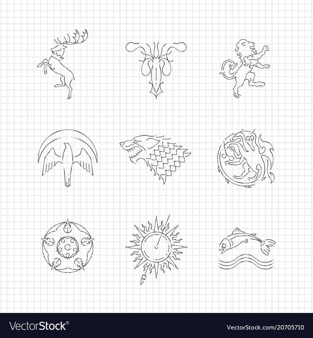 Pencil Drawing Line Heraldic Animals