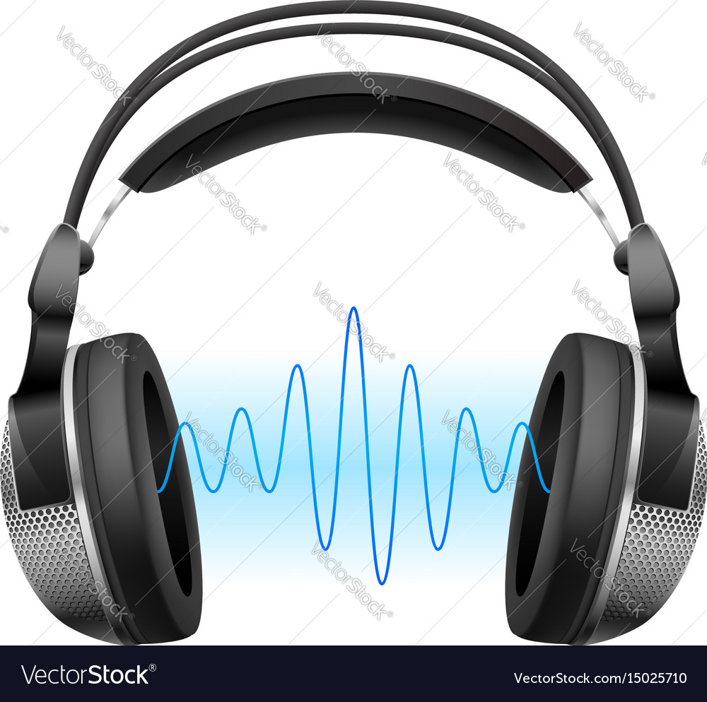 Realistic headphones and music wave on white vector image