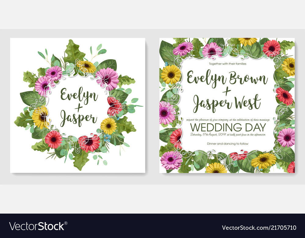 Watercolor set of postcards template of wedding