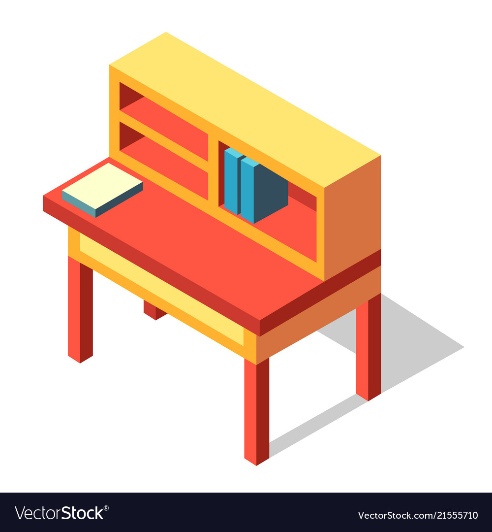 Writing Desk Isometric Royalty Free Vector Image