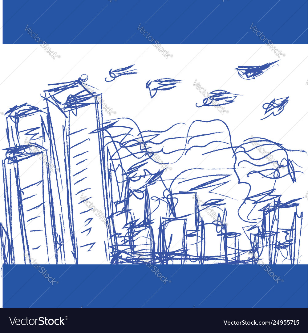 A Blue Pen Drawing A Cityscape Looks Beautiful
