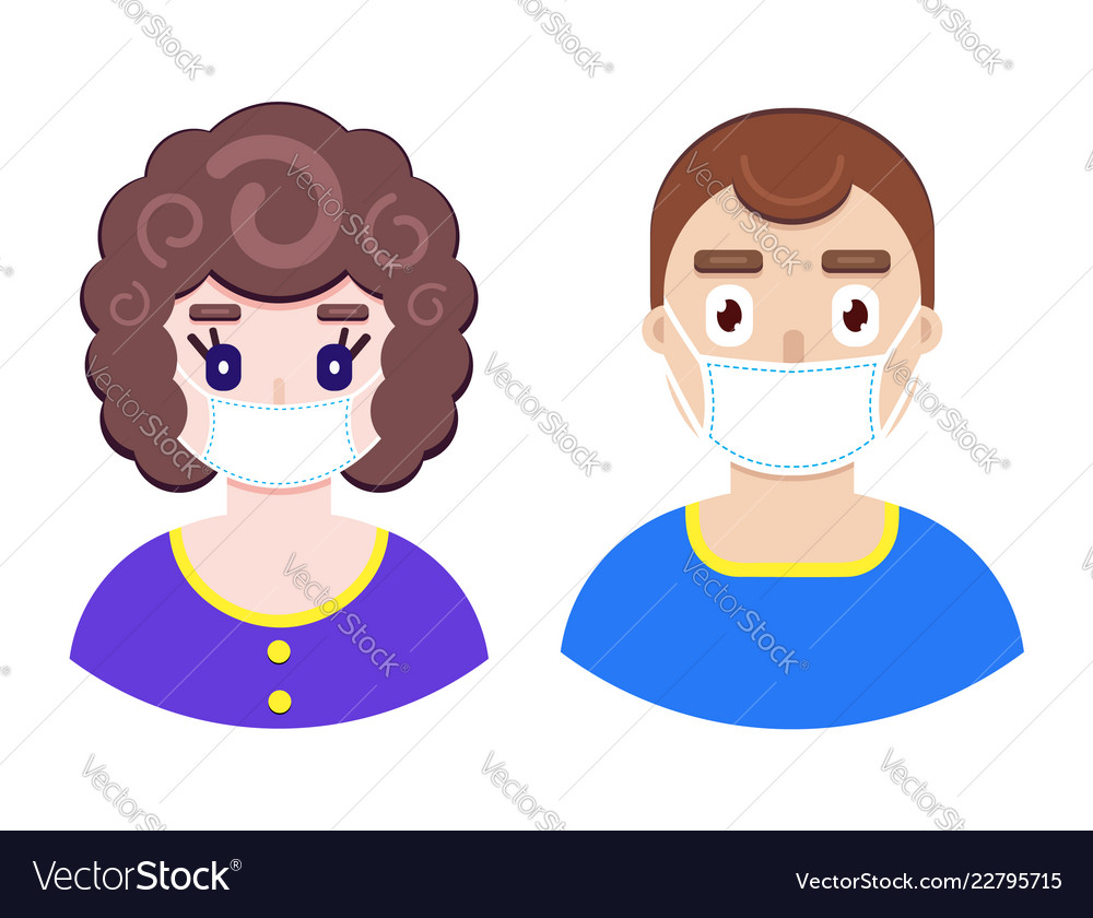 Boy and girl in protective medical mask