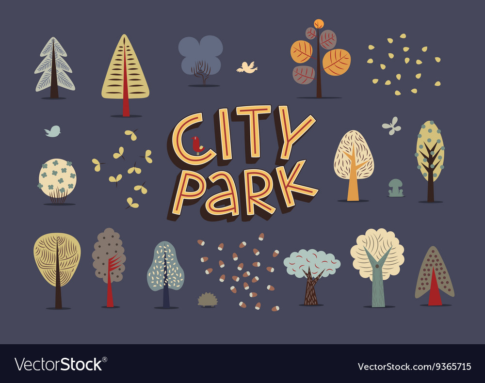 City park set dark vector image