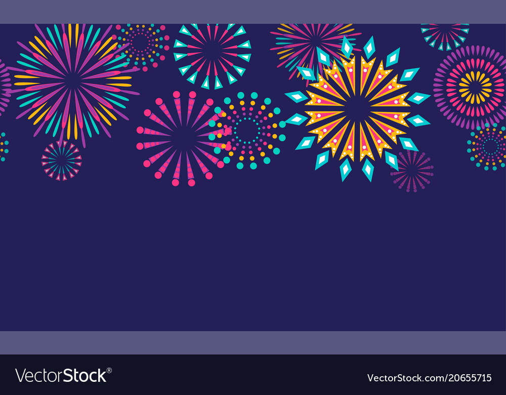 Firework border seamless background