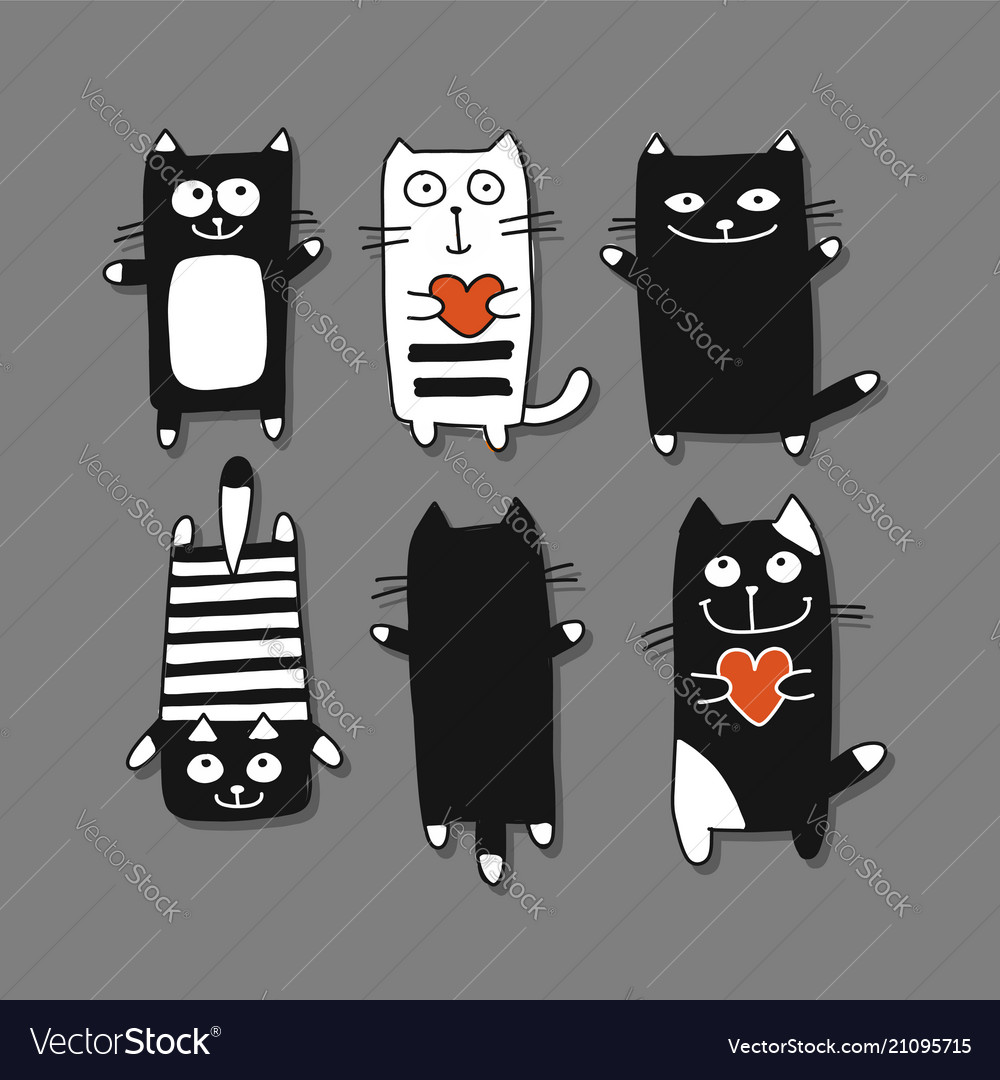 Funny cats collection sketch for your design