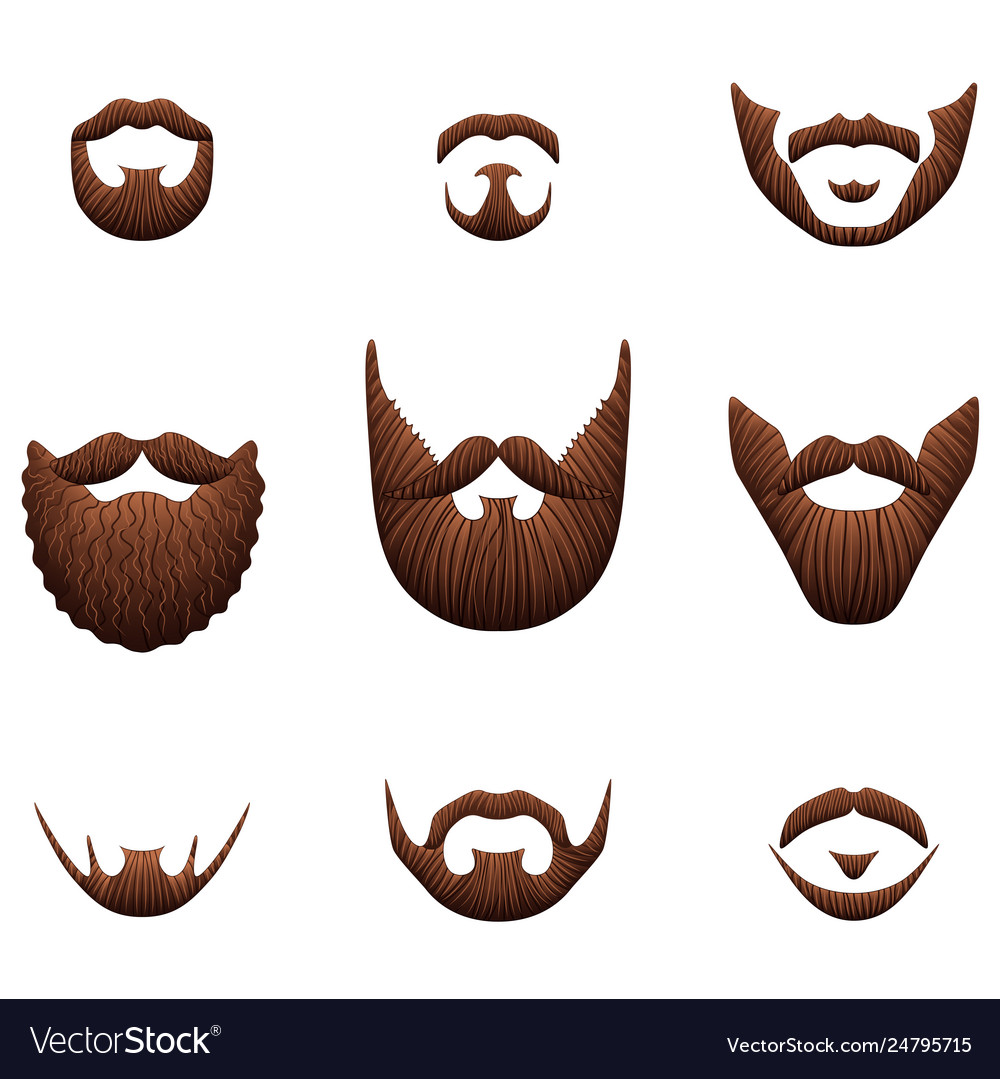 Hipster beards icons photo realistic set