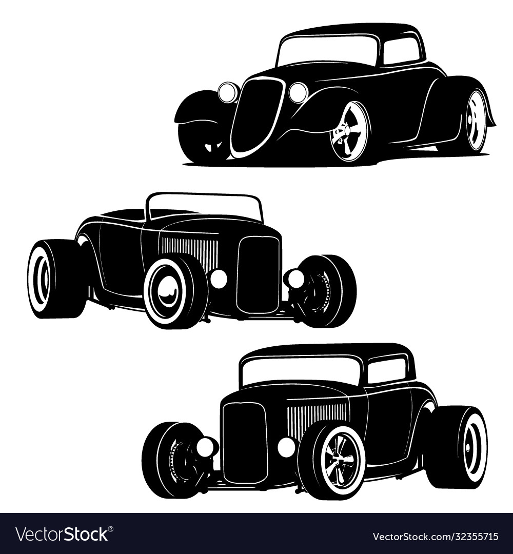 Hot rod muscle cars silhouette set