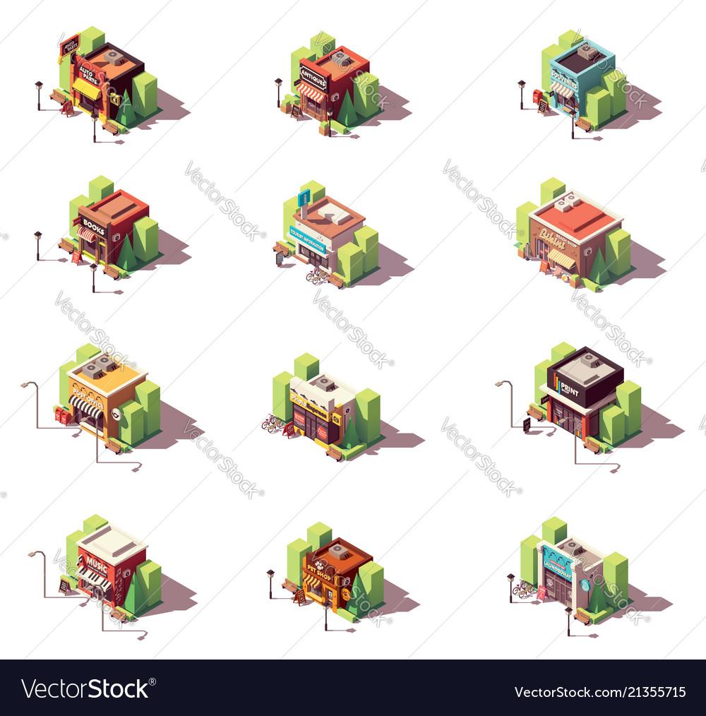 Isometric shops icon set