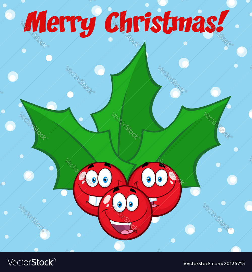 Jolly christmas holly berries with leaves Vector Image