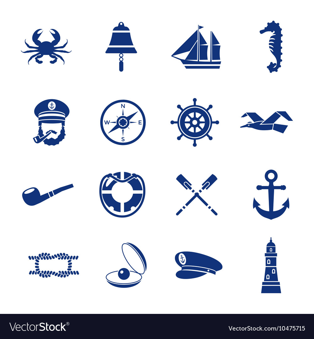 Nautical Icon Set In Blue