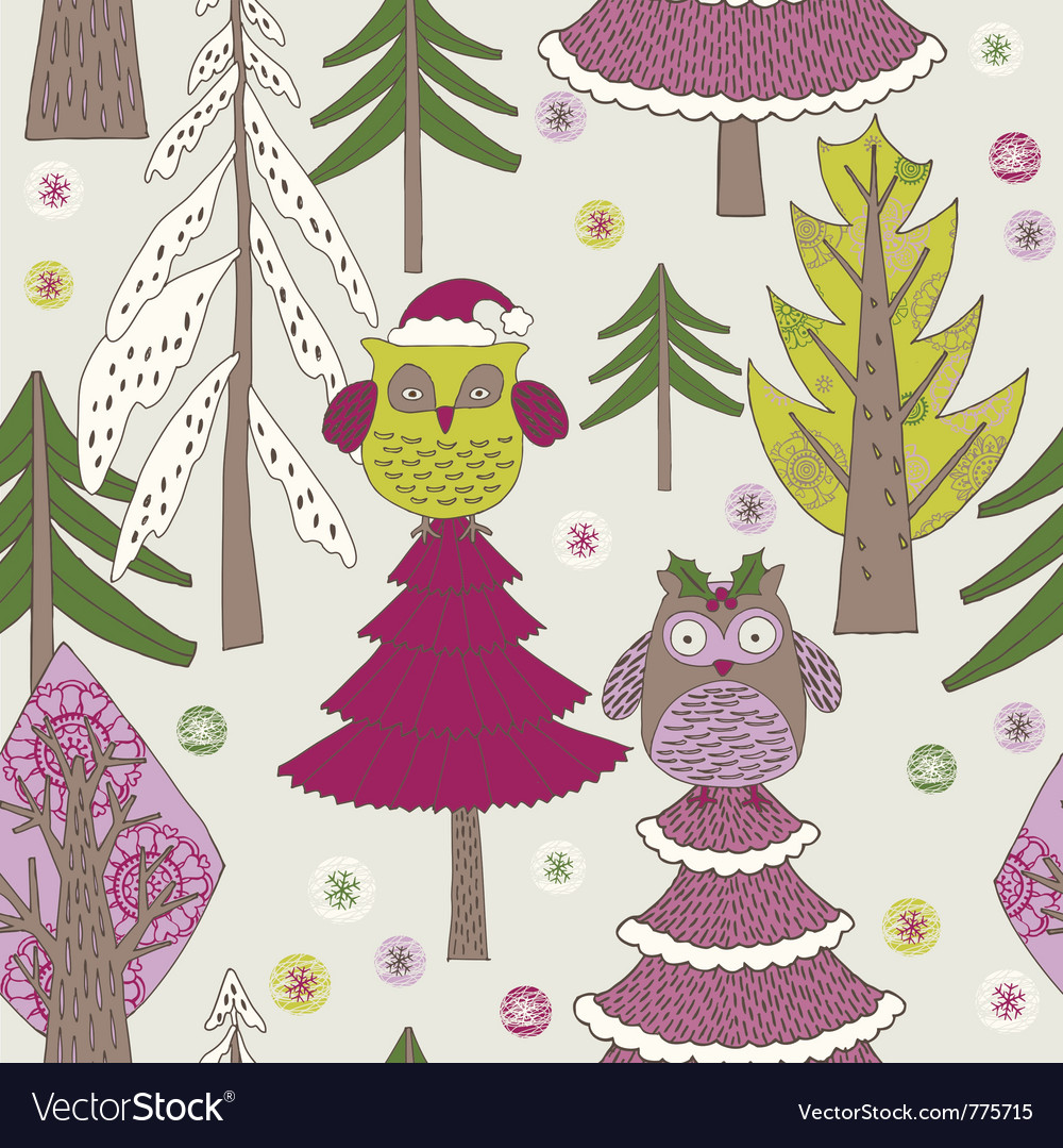 Owl christmas background vector image