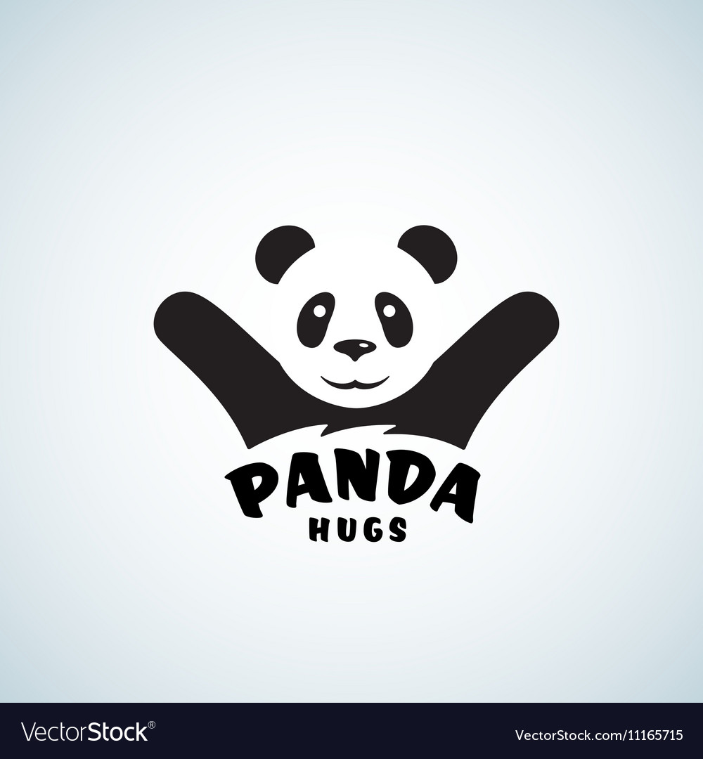 panda hugs abstract emblem or logo template vector image