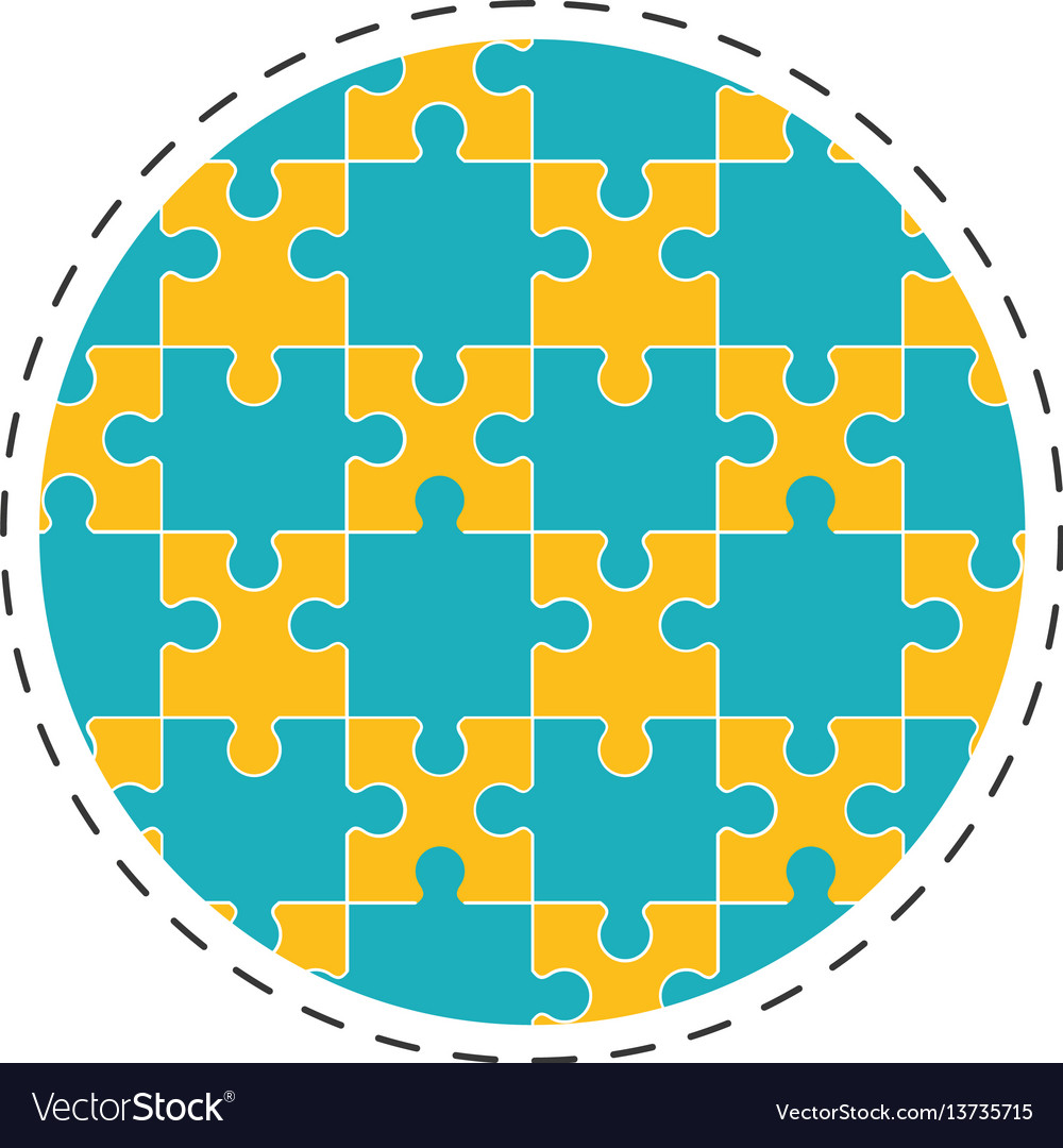 Round collection puzzle solution image vector image