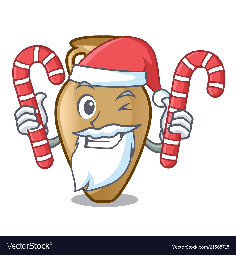 Santa with candy amphora mascot cartoon style