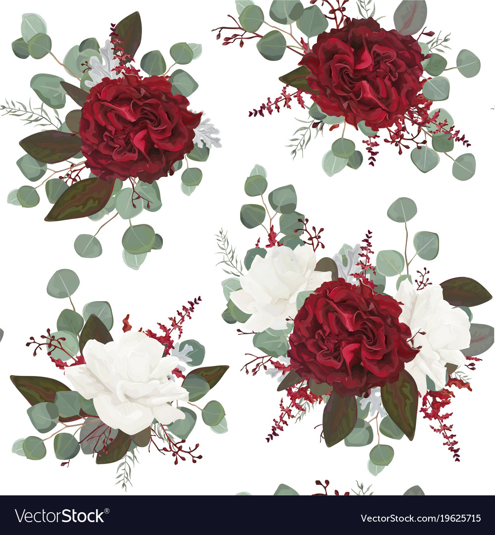 Seamless floral pattern design with res flowers