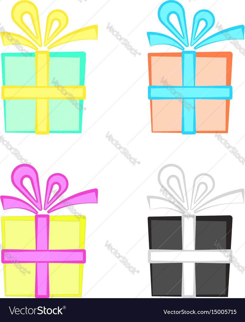 Set of cute colorful cartoon present boxes gift