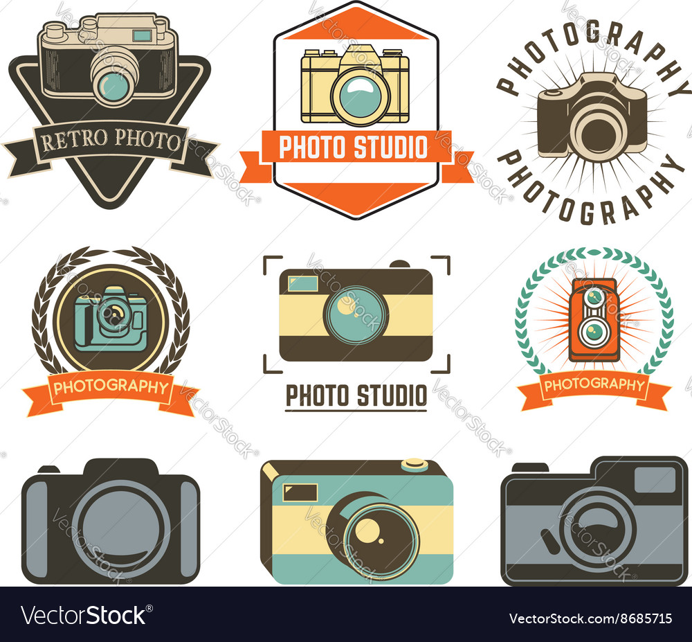 Set of photo studio labels