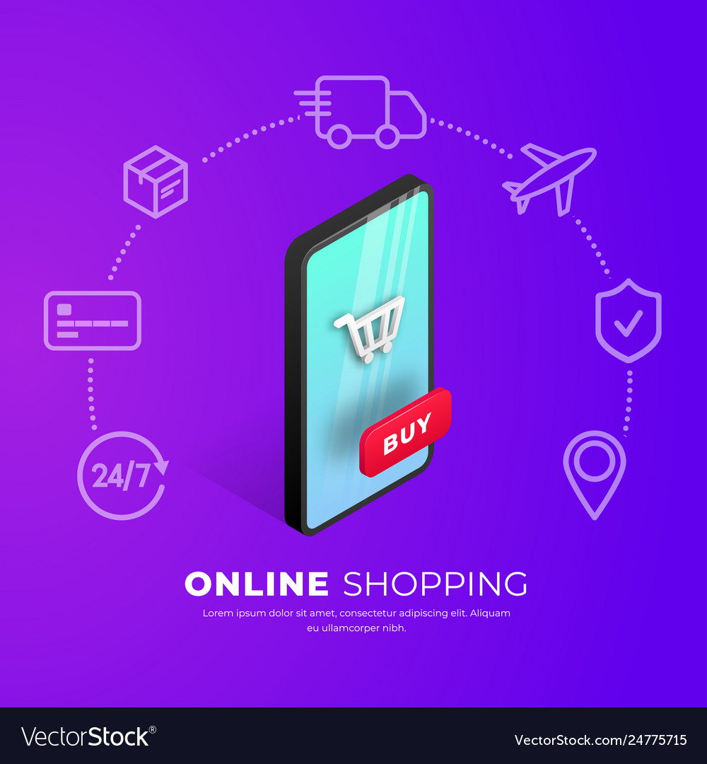 Shopping online concept smartphone icons