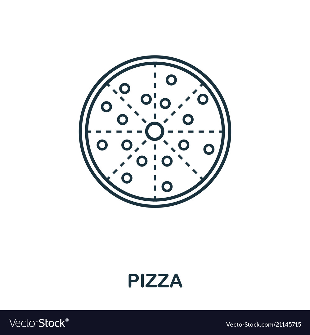 Simple outline pizza icon pixel perfect linear