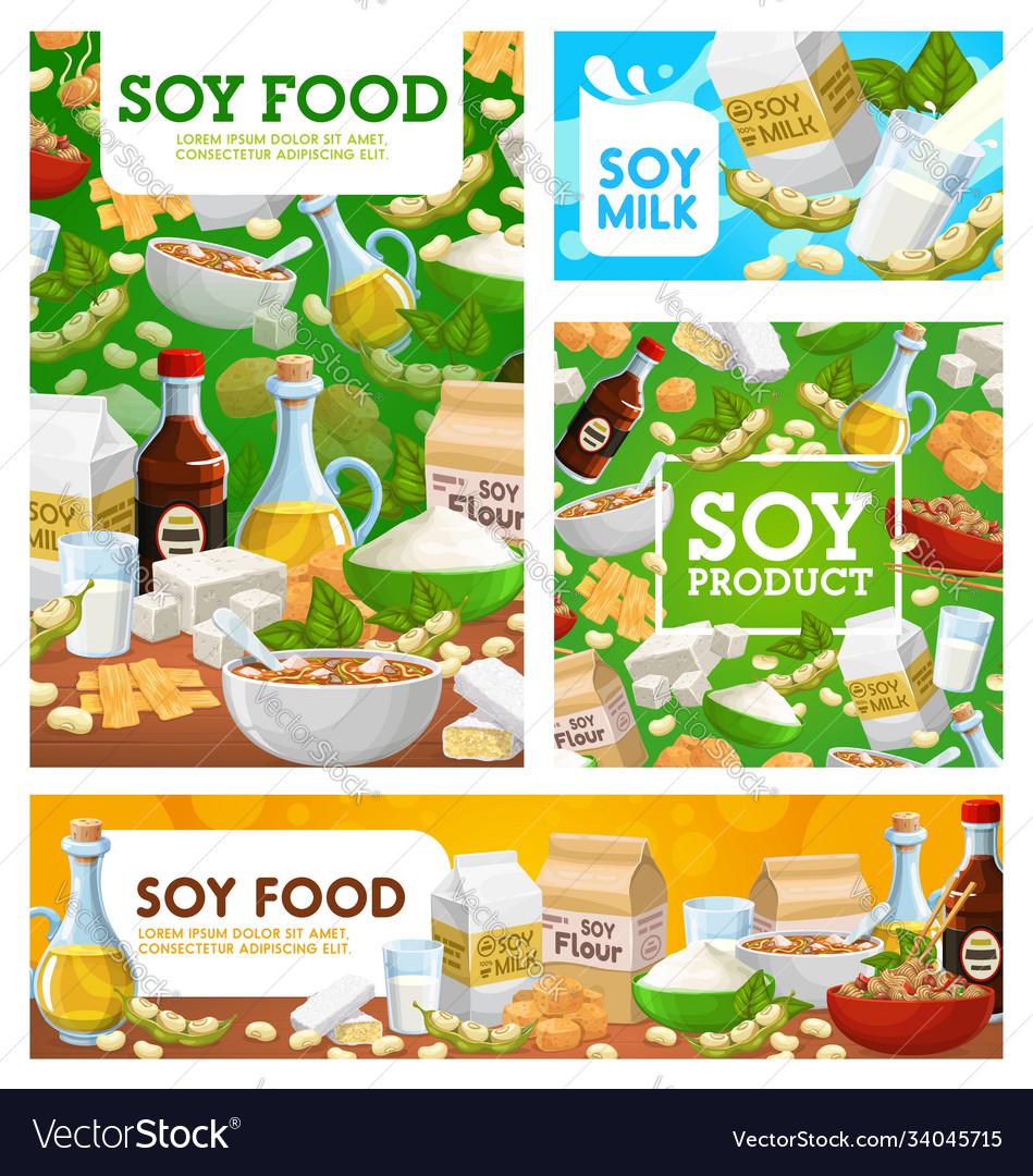 Soy food soybean organic soya food posters