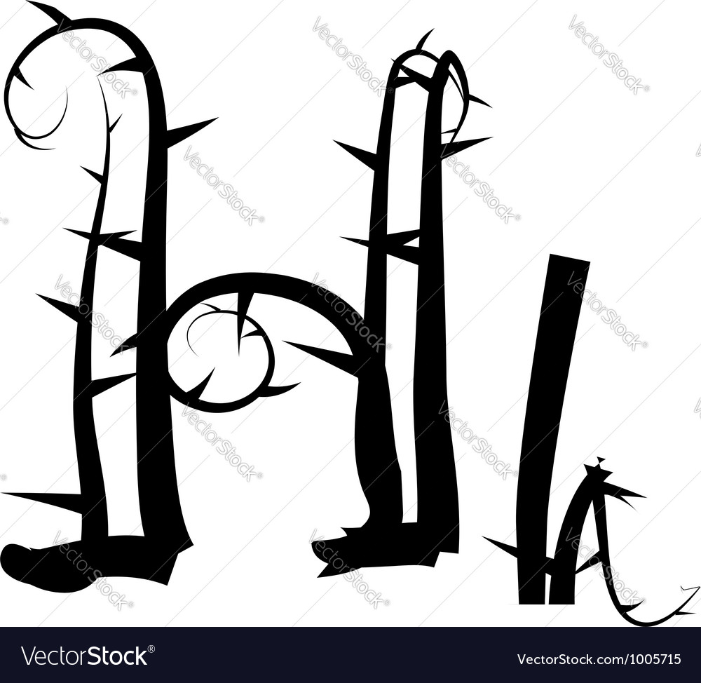 Spiked creeping alphabet vector image