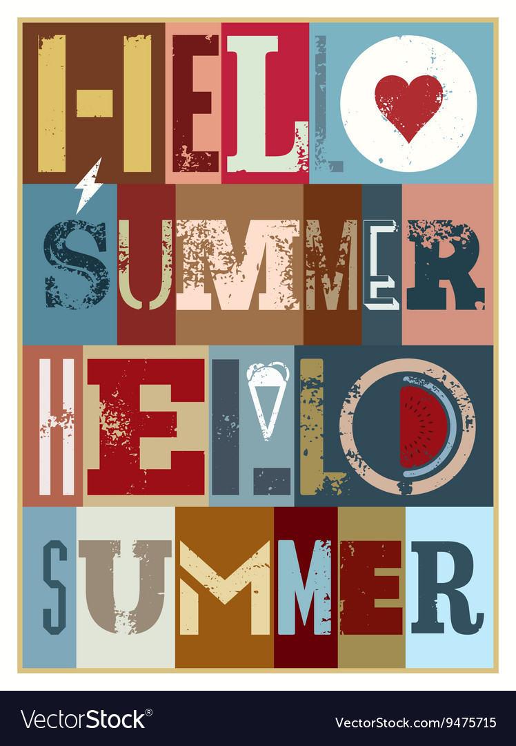 Summer typographic grunge retro poster design vector image