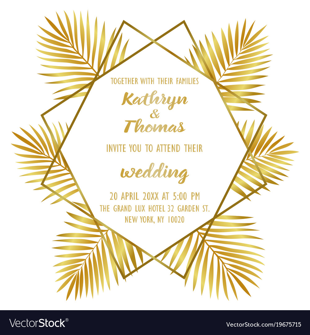 wedding luxury tropical invitation card royalty free vector
